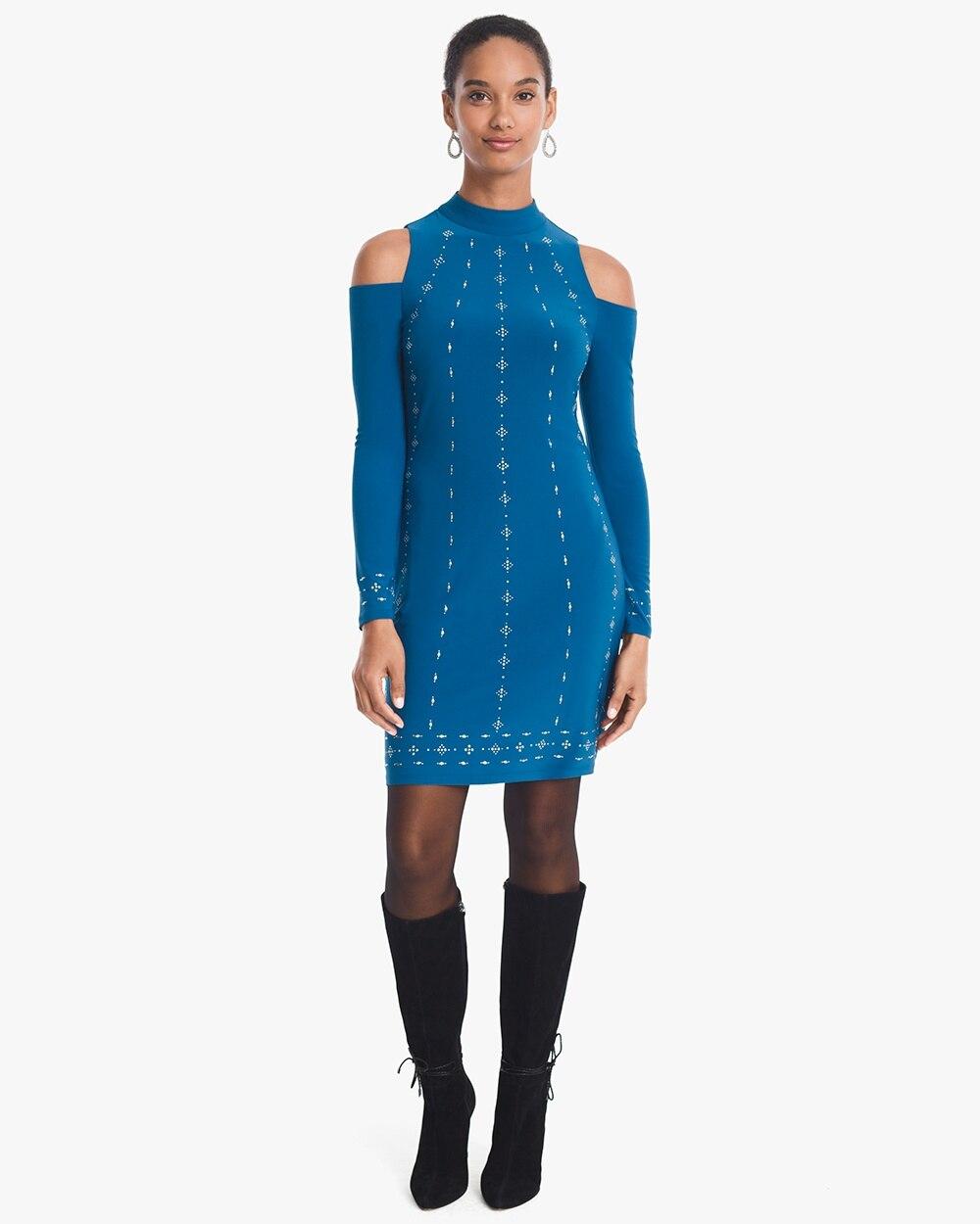 25376e76b6d Cold-Shoulder Embellished Mock Neck Knit Shift Dress - White House Black  Market