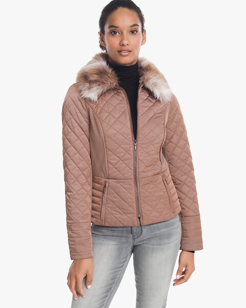 e8147eba41bf Quilted Puffer Jacket with Removable Faux Fur Trim Collar - White House  Black Market