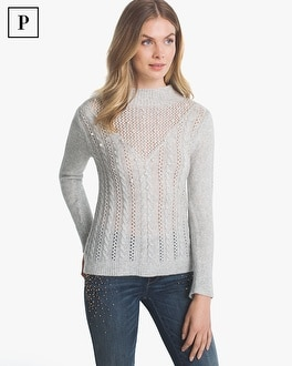 Petite Cable-Knit Sweater with Faux Pearls | Tuggl