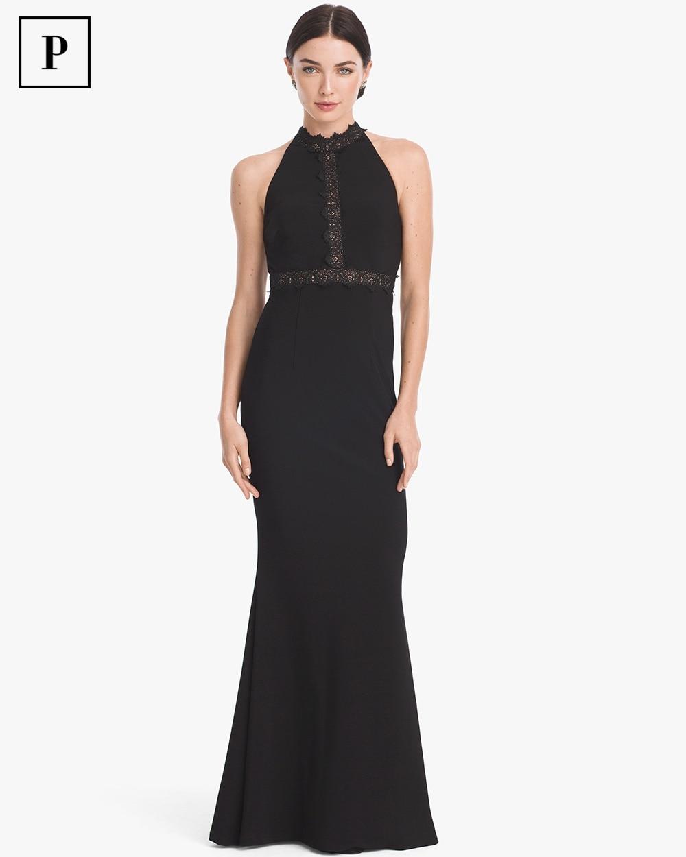 Petite Black Lace Inset T-Back Gown - White House Black Market
