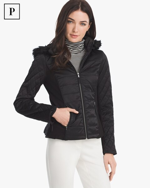 9e7167685374 Petite Quilted Puffer Jacket with Removable Faux Fur Trim Hood - White  House Black Market