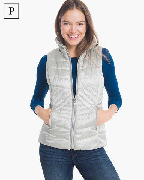 Womens Petite Quilted Vest By White House Black Market