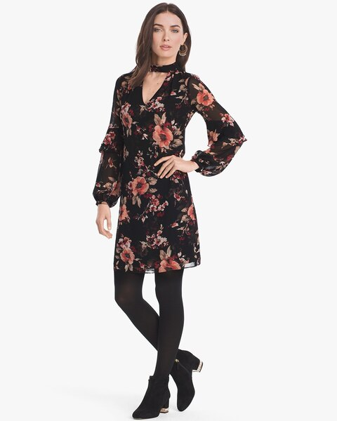 da8486ac51c3 Long-Sleeve Floral Choker Shift Dress - White House Black Market
