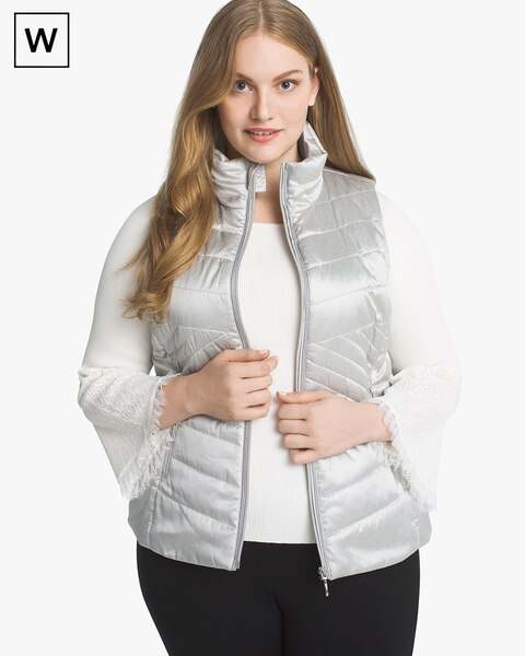 Womens Plus Quilted Vest By White House Black Market