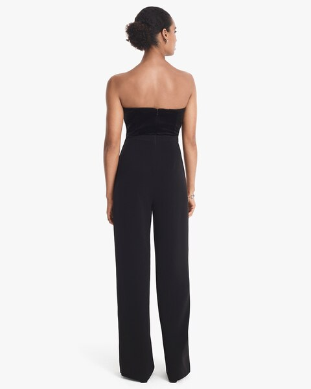 eae4814aa2b4 Return to thumbnail image selection Convertible Black Strapless Velvet  Bodice Split-Leg Jumpsuit