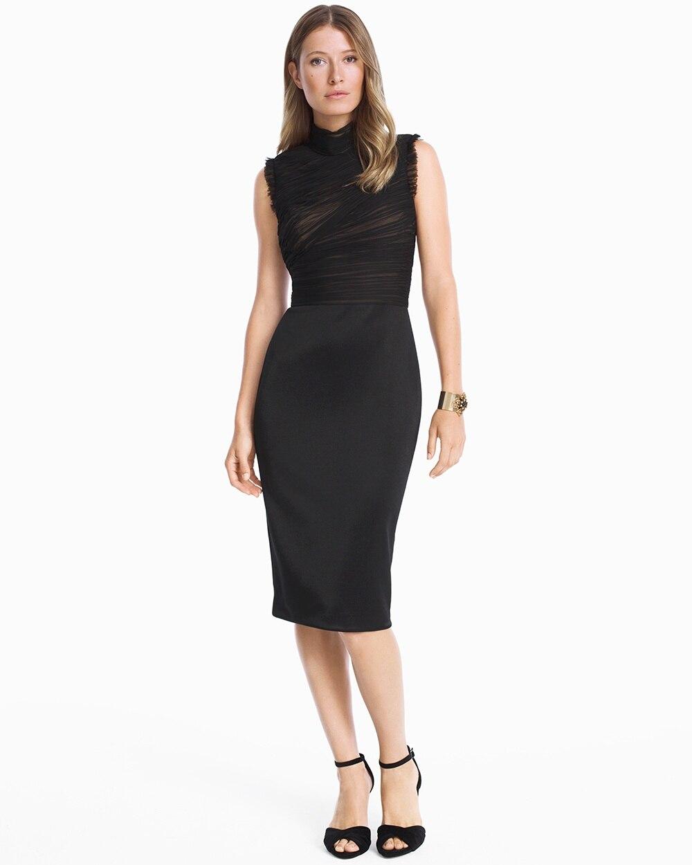 deb3b4df Mock Neck Black Ruched Sheath Dress - White House Black Market