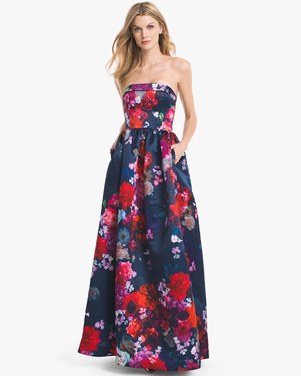 Jamie Sleeveless Floral Jacquard Gown White House Black Market