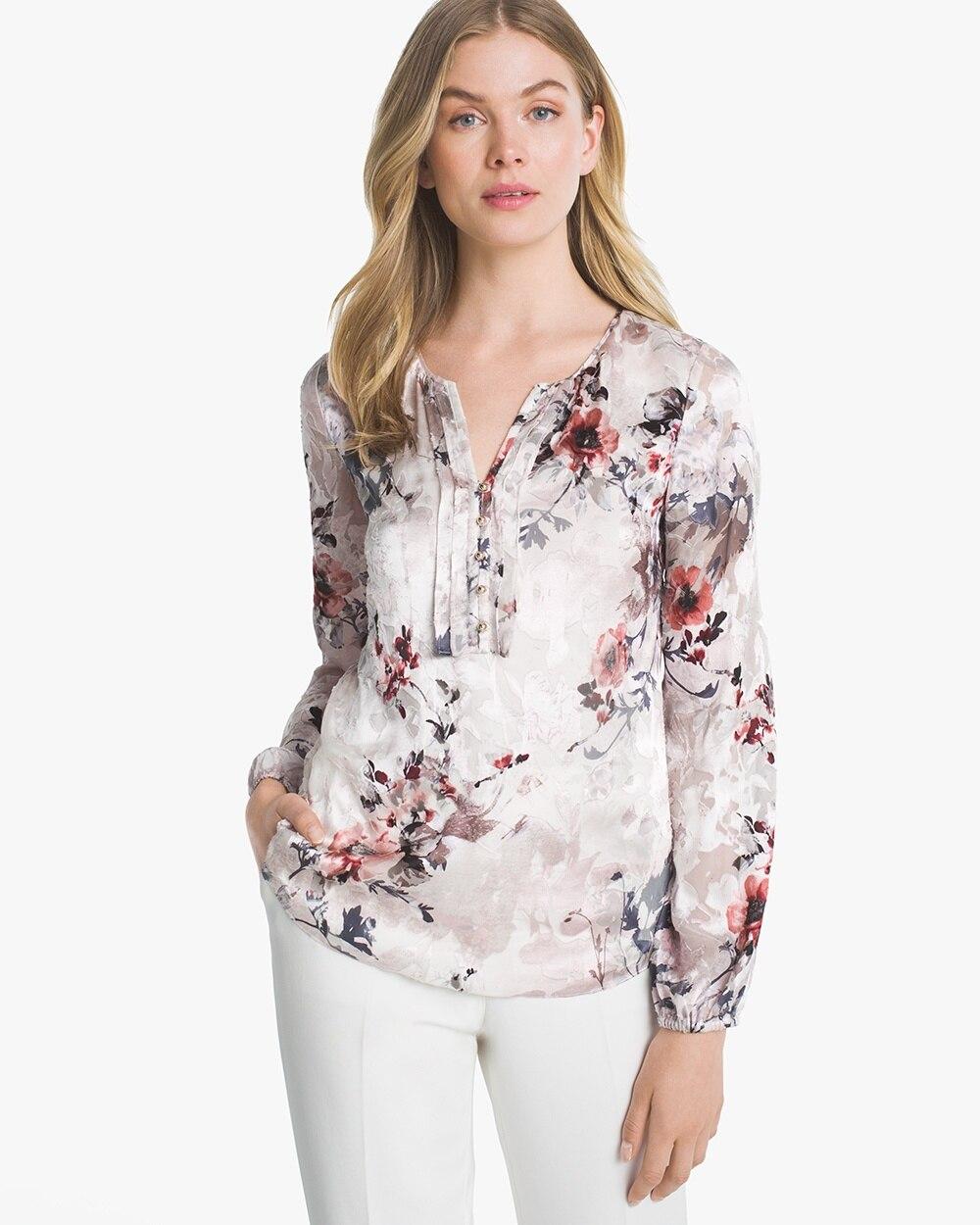 6e2fae9cd49ec7 Silk Burnout Floral Blouse - White House Black Market