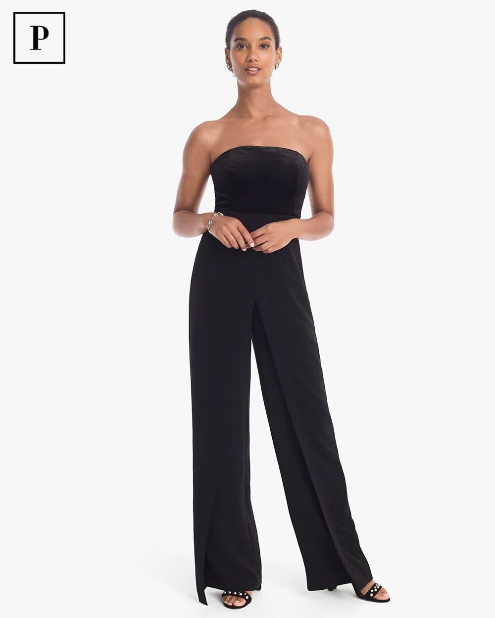 cad8984ede08 Petite Convertible Black Strapless Velvet Bodice Split-Leg Jumpsuit - White  House Black Market