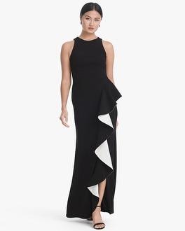 White House Black Market Black & White Flounce Gown at White House | Black Market in Sherman Oaks, CA | Tuggl
