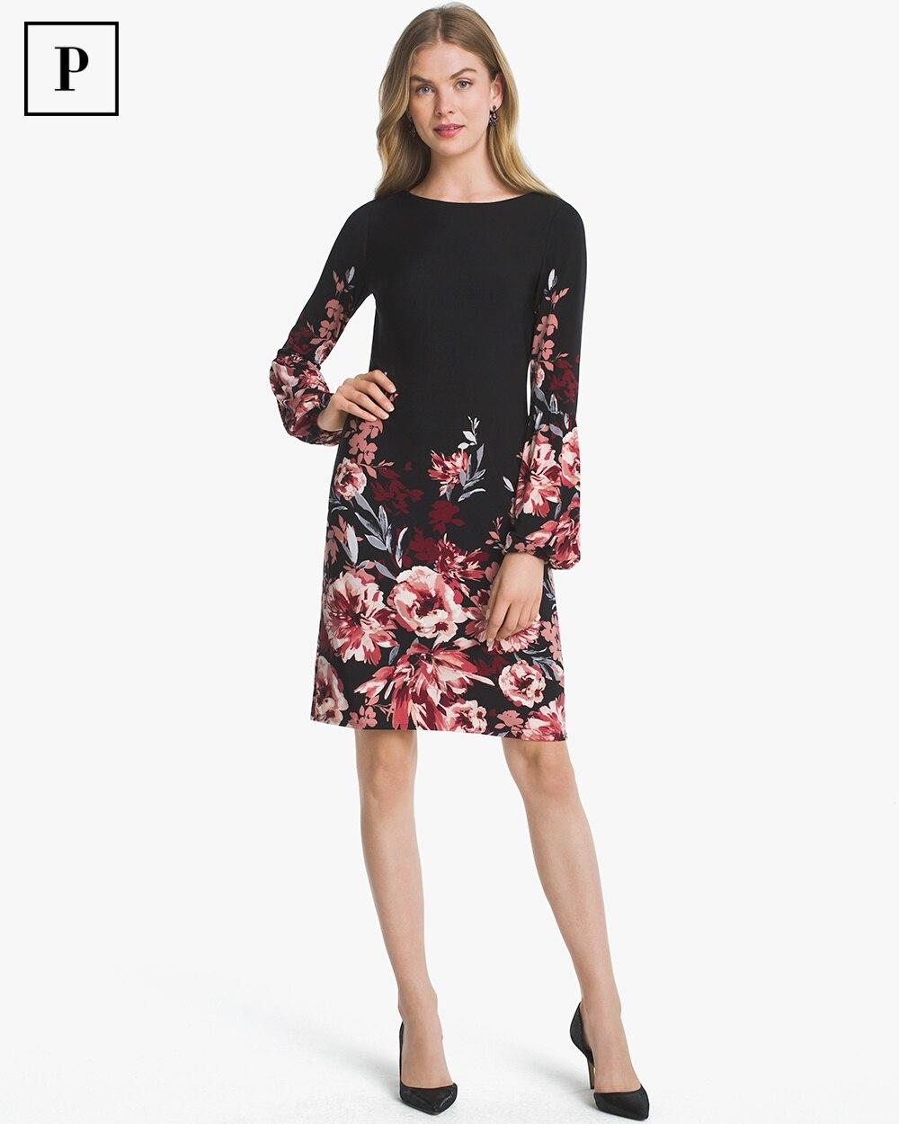 6bd5c97cfa6 Petite Long-Sleeve Floral Knit Shift Dress - White House Black Market