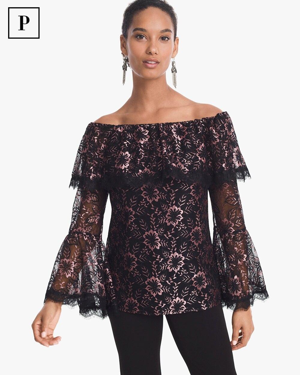 26498d769a169 Petite Off-the-Shoulder Lace Top - White House Black Market