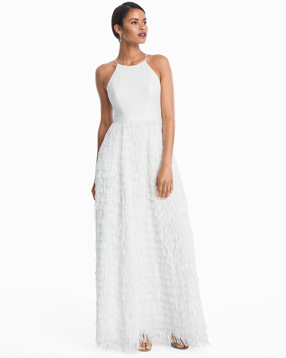 White Halter Fringe Skirt Gown - White House Black Market
