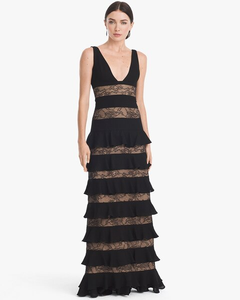 Lace Ruffle-Tier Gown - White House Black Market