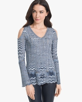 Zigzag Cold Shoulder Sweater by Whbm
