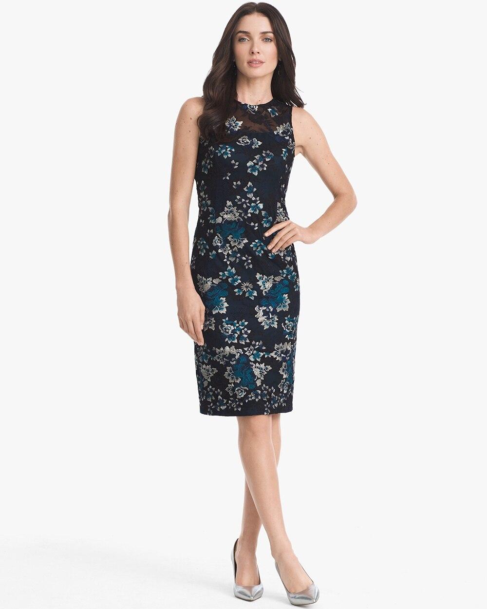c333c8becab04 Sleeveless Embroidered Mesh Sheath Dress - White House Black Market