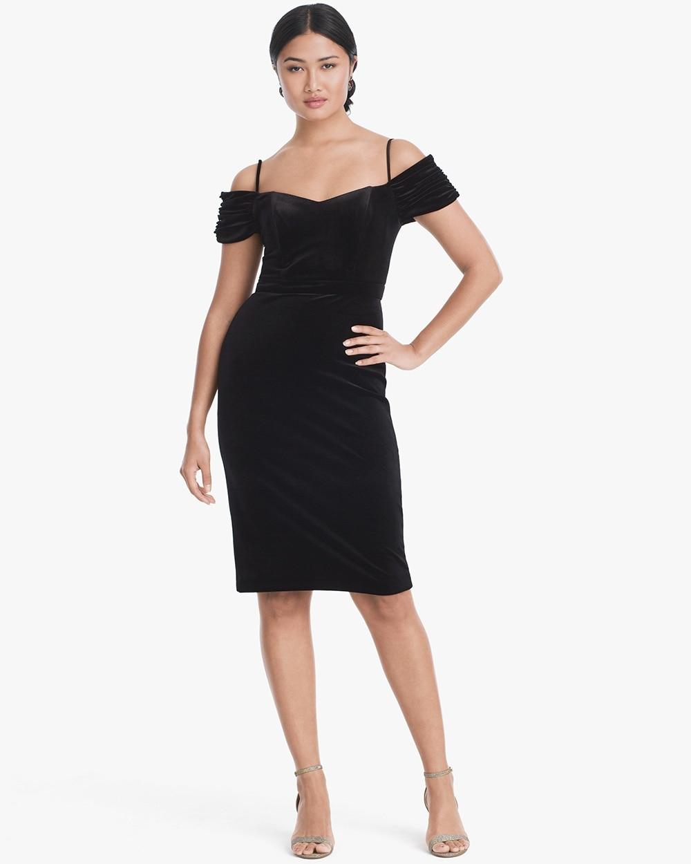 ccf6756f7ce10 Return to thumbnail image selection Off-the-Shoulder Velvet Sheath Dress  video preview image