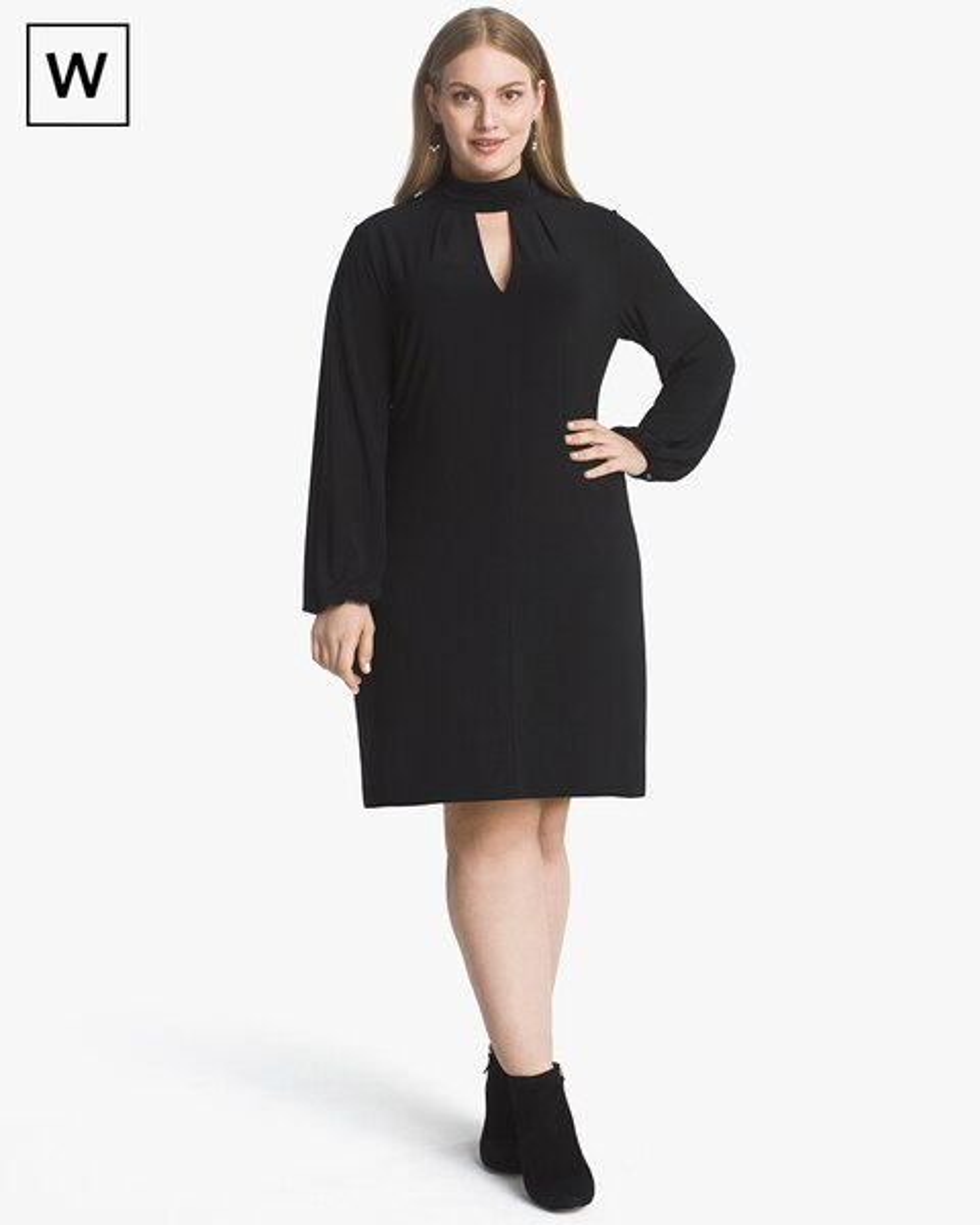 d8e2dc7122f Plus Black Mock Neck Shift Dress - White House Black Market