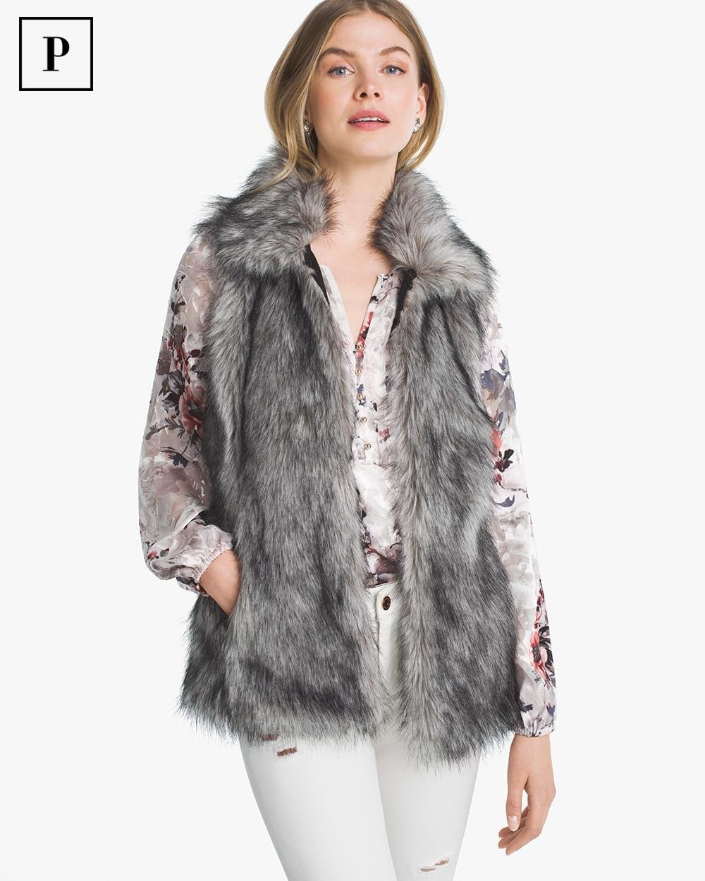 Womens Petite Faux-fur Vest By White House Black Market
