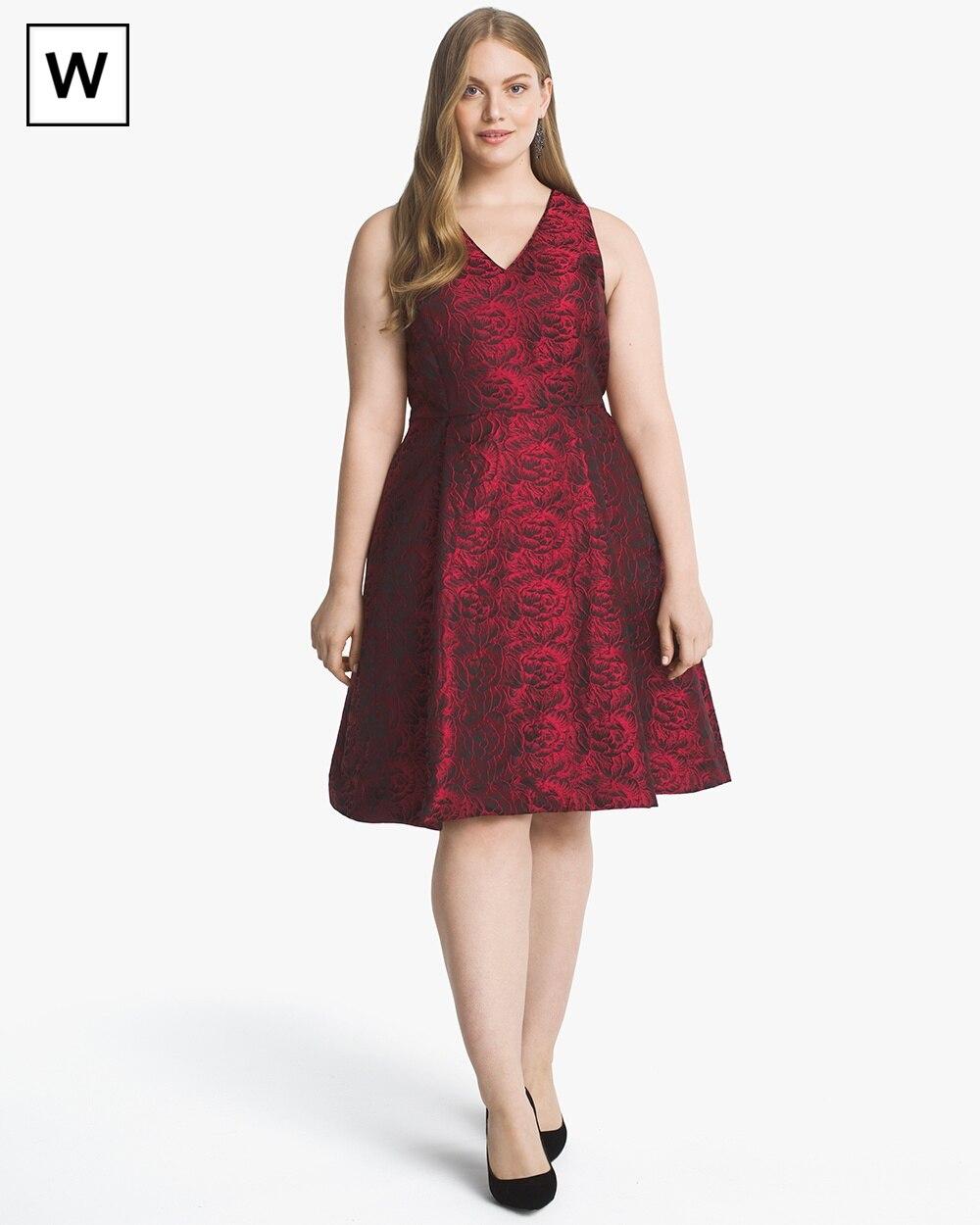 c06881a65a9c Plus Rose-Print Jacquard Fit-and-Flare Dress - White House Black Market