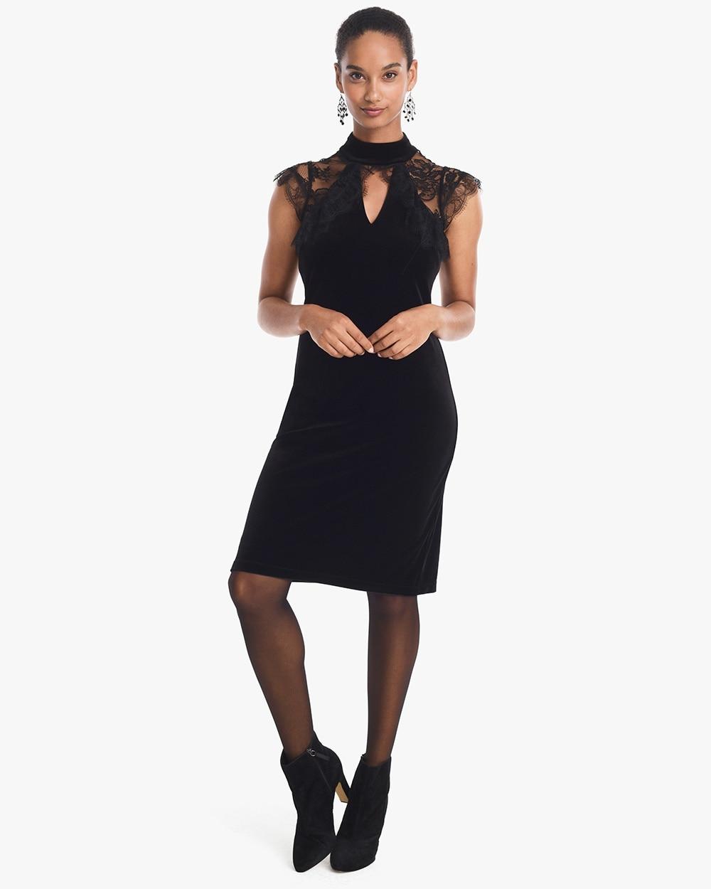 Cap Sleeve Lace Veiling Black Velvet Shift Dress White House Black