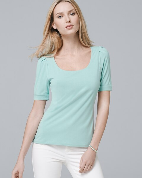0befb76a34db9 Scoop Neck Elbow-Sleeve Knit Top - White House Black Market