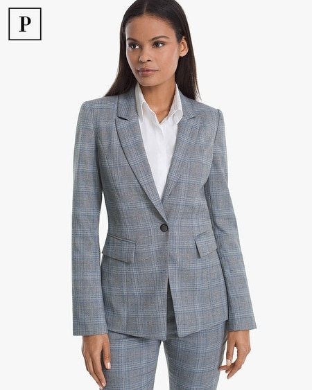 Petite Glen Plaid Blazer Jacket