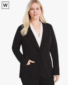 White House Black Market Plus Single-Button Knit Blazer Jacket at White House | Black Market in Sherman Oaks, CA | Tuggl
