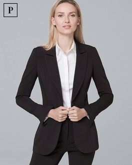 Petite Single Button Knit Blazer Jacket by Whbm