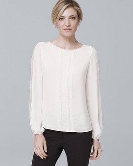 Jean Lace Detail Blouse by Whbm