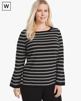 White House Black Market Plus Convertible Stripe Sweater at White House | Black Market in Sherman Oaks, CA | Tuggl