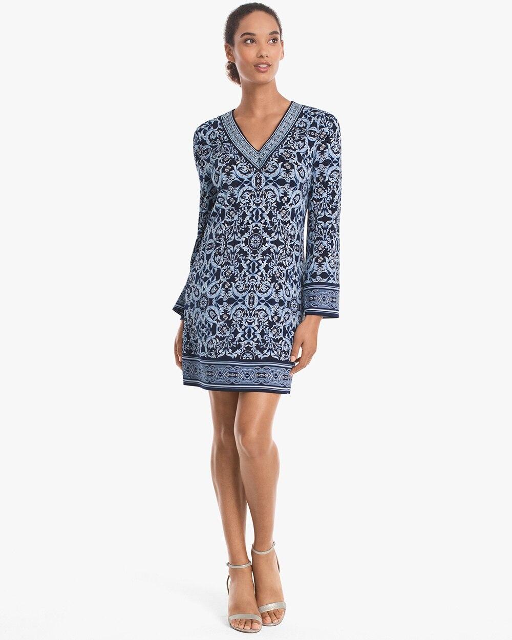 36984e146a Long-Sleeve Printed Knit Shift Dress - White House Black Market