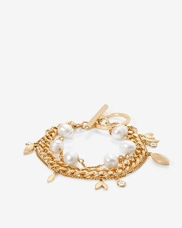 Freshwater Pearl & Chain Bracelet by Whbm