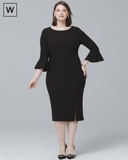 White House Black Market Plus Body-Perfecting Ruffle Three-Quarter-Sleeve Sheath Dress at White House | Black Market in Sherman Oaks, CA | Tuggl