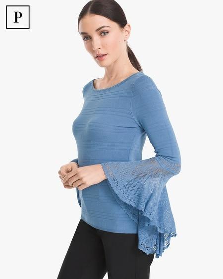 Petite Flutter-Sleeve Pullover
