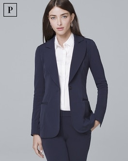Petite Single-Button Knit Blazer Jacket | Tuggl