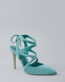 White House Black Market Marlow Suede Strappy Heels at White House | Black Market in Sherman Oaks, CA | Tuggl