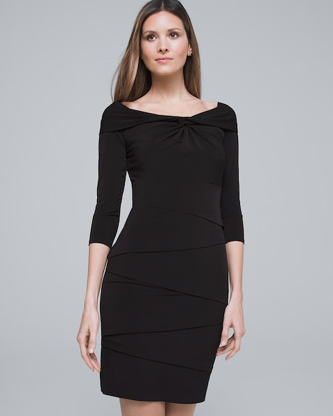 5276448229aa Off-the-Shoulder Tiered Black Instantly Slimming Dress - White House Black  Market