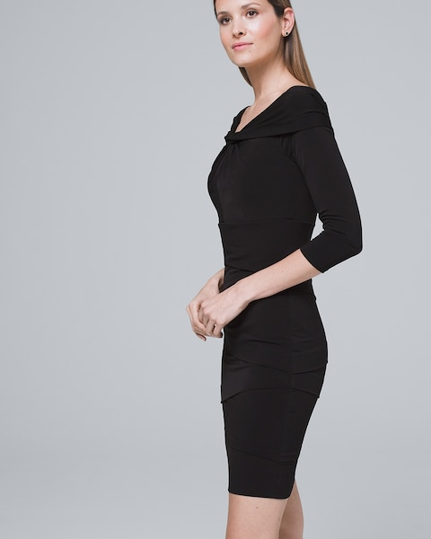 6b4357b97f7b3 Return to thumbnail image selection Off-the-Shoulder Tiered Black Instantly  Slimming Dress