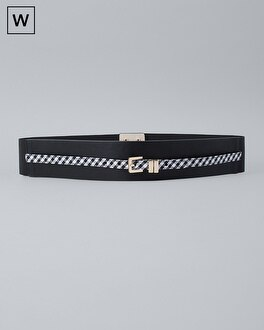 Plus Gingham Trim Wide Stretch Belt by Whbm
