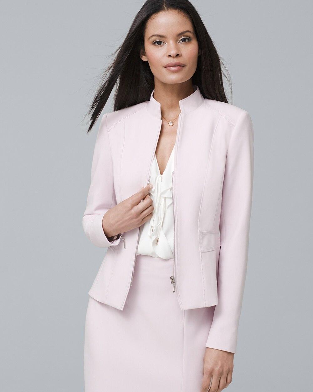 Stand,Collar Zip Suiting Jacket