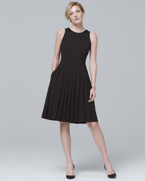 3ad04cc2e8d Return to thumbnail image selection Seamed Black Fit-and-Flare Dress video  preview image