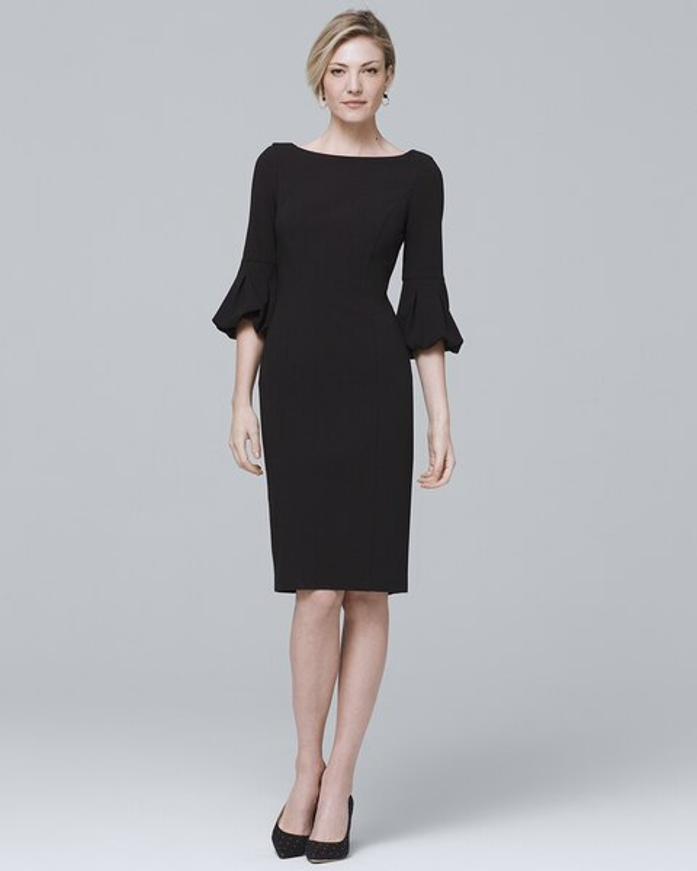 1fa075ecede8e Body Perfecting Lantern-Sleeve Black Sheath Dress - White House Black Market
