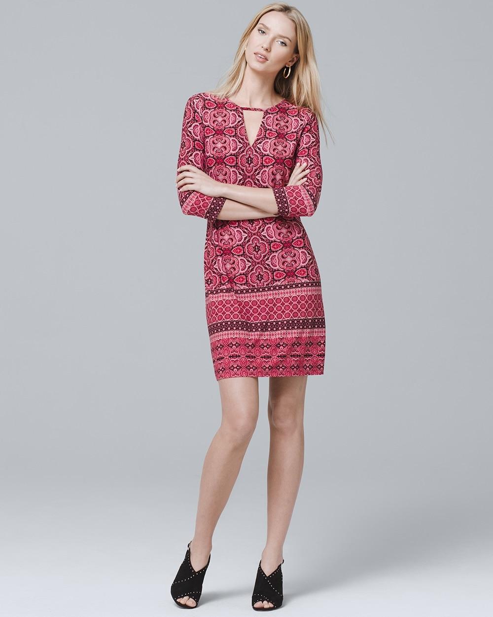 531a95db9a 3 4-Sleeve Mirror Print Knit Shift Dress - White House Black Market