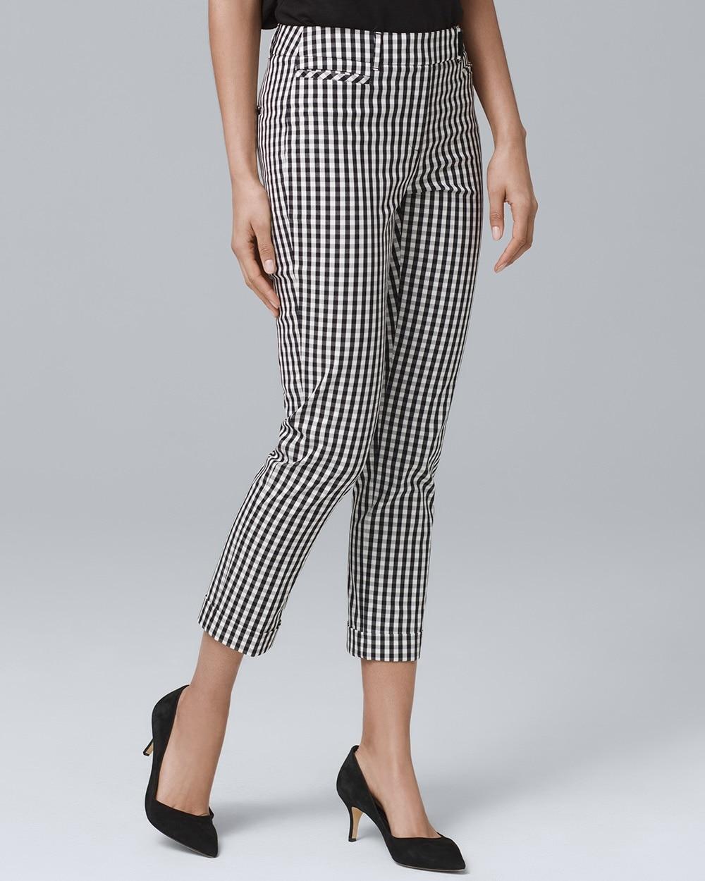 45558edb9bc32 Gingham Slim Crop Pants - White House Black Market