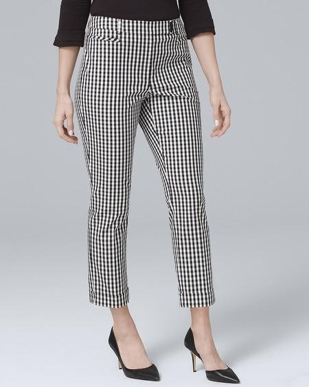 717394ff957 Curvy Gingham Slim Crop Pants - White House Black Market