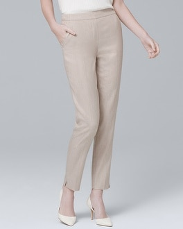 Linen-Blend Relaxed Ankle Pants | Tuggl