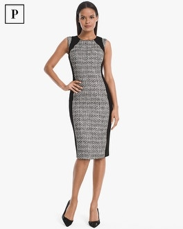 White House Black Market Petite Body Perfecting Tweed with Ponte Inset Sheath Dress at White House | Black Market in Sherman Oaks, CA | Tuggl