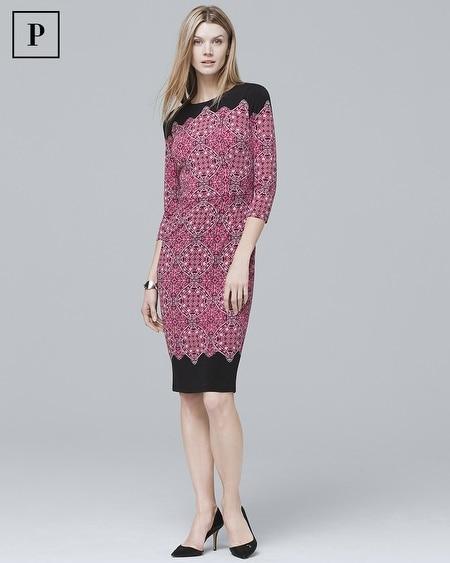 Petite 3/4-Sleeve Medallion Print Knit Sheath Dress