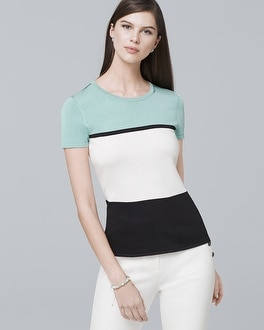 Short Sleeve Colorblock Sweater by Whbm